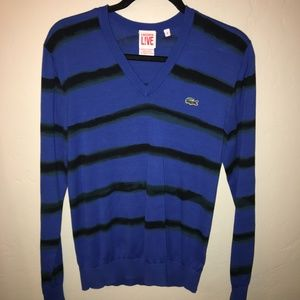 Lacoste Blue V Neck Black Striped Sweater Size 4